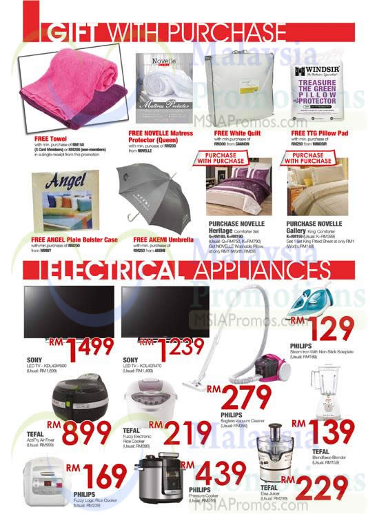 Gift With Purchase, Electrical Appliances Bedsheet Sets, TVs, Air Fryer, Rice Cooker, Vacuum Cleaner, Pressure Cooker, Blender