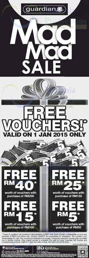 Featured image for Guardian Spend RM50 & Get Up To RM40 Voucher 1 Jan 2015