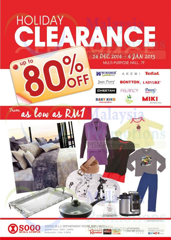 Holiday Clearance Up to 80 Percent Off, From As Low As RM1