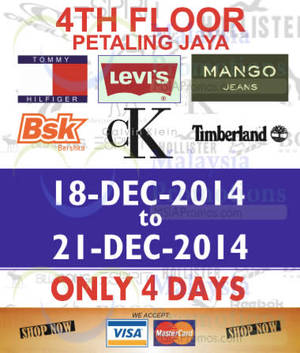 Featured image for Branded Apparels Warehouse SALE @ Jaya Shopping Centre 18 – 21 Dec 2014