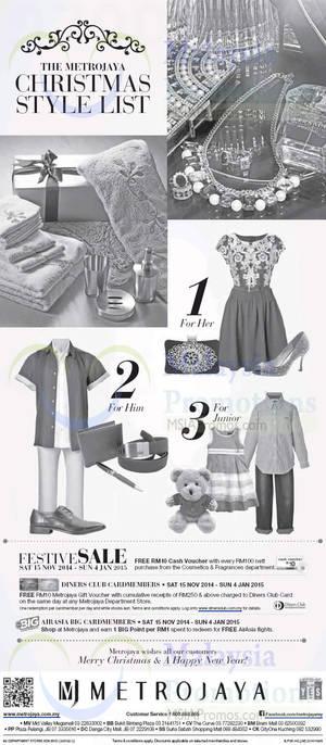 Featured image for Metrojaya 20% Off Festive Sale & Christmas Style List 15 Nov 2014 – 4 Jan 2015