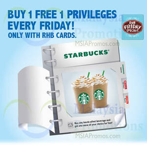 Featured image for Starbucks Buy 1 FREE 1 For RHB Cardmembers (Fridays) 2 – 30 Jan 2015