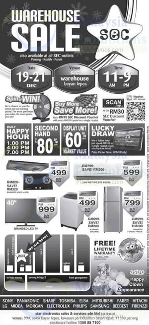 Featured image for Sec Warehouse SALE @ Bayan Lepas Penang & All Outlets 19 – 21 Dec 2014