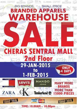 Featured image for Big Brand Fashion Branded Apparel Warehouse Sale @ Hotel Sri Petaling 29 Jan – 1 Feb 2015