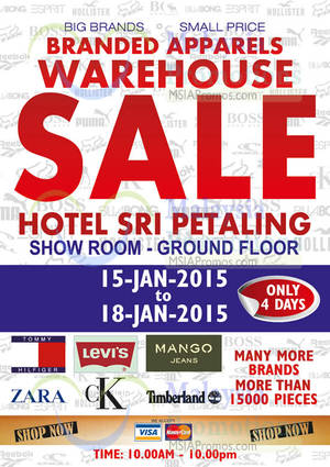 Featured image for Big Brand Fashion Branded Apparel Warehouse Sale @ Hotel Sri Petaling 15 – 18 Jan 2015
