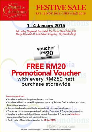 Featured image for Metrojaya Spend RM250 & Get FREE RM20 Voucher 1 – 4 Jan 2015