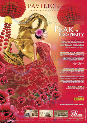 Featured image for Pavilion KL Peak of Prosperity Promotions & Activities 23 Jan – 5 Mar 2015