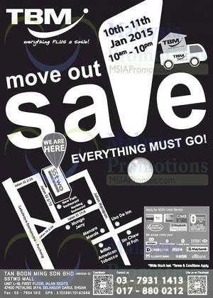 Featured image for TBM Moving Out Sale @ SStwo Mall 10 – 11 Jan 2015