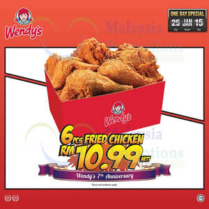 Featured image for Wendy's RM10.99 6pcs Fried Chicken 1-Day Promo 25 Jan 2015