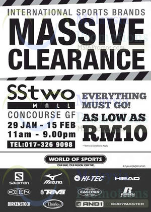 Featured image for World of Sports Massive Clearance @ SStwo Mall 29 Jan – 15 Feb 2015
