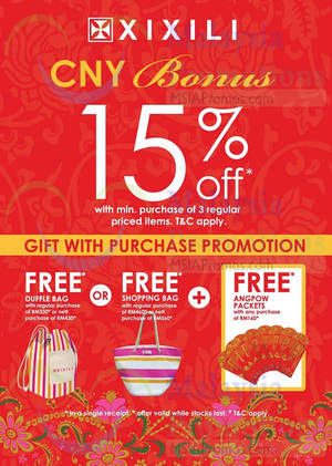 Featured image for Xixili Buy 3 Items & Get 15% Off 17 Jan – 22 Feb 2015