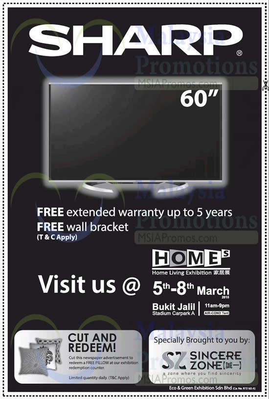 4 Mar Cut n Redeem Gift, Free Warranty, Wall Bracket for Sharp TV