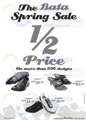 Featured image for Bata 50% Off Spring Sale @ Nationwide 28 Feb 2015