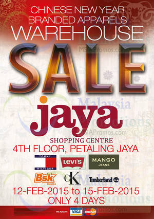 Featured image for Big Brand Fashion Branded Apparel Warehouse Sale @ Jaya Shopping Centre 12 – 15 Feb 2015