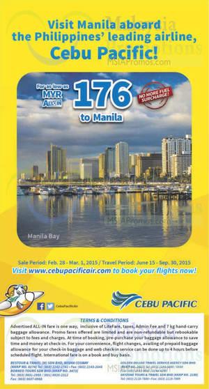 Featured image for Cebu Pacific Air RM176 (all-in) Manila Promo Fares 28 Feb – 1 Mar 2015