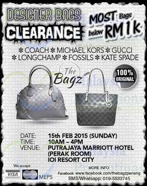 0e672daf3c The Bagz Designer Bags Clearance @ Putrajaya Marriott Hotel 15 Feb 2015