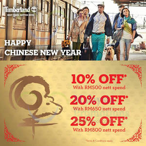 Featured image for Timberland Spend RM500 & Get 20% OFF CNY Sale 17 Feb 2015