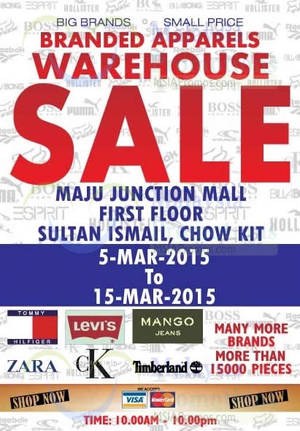 Featured image for Big Brand Fashion Branded Apparel Warehouse Sale @ Maju Junction Mall 5 – 15 Mar 2015