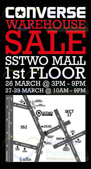 Featured image for Converse Warehouse Sale @ SSTwo Mall Petaling Jaya 26 – 29 Mar 2015