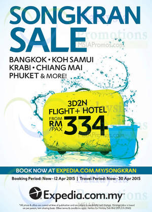 Featured image for Expedia From RM334 3D2N Flights & Hotels Songkran Sale 31 Mar – 12 Apr 2015