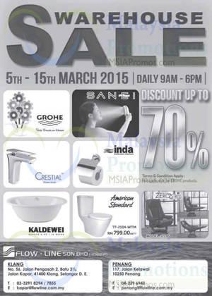 Featured image for Flow-Line Bathroom Accessories Warehouse SALE @ Klang & Penang 5 – 15 Mar 2015