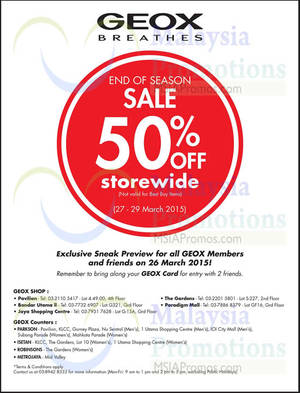 Featured image for Geox 50% OFF End of Season SALE 27 – 29 Mar 2015