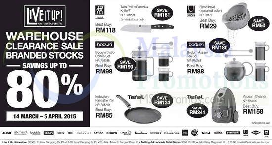 Live it up Warehouse Clearance 13 Mar 2015