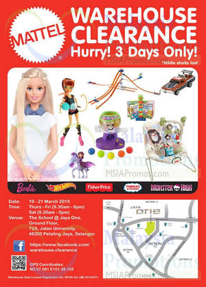 Featured image for Mattel Warehouse Clearance SALE @ Petaling Jaya 19 – 21 Mar 2015