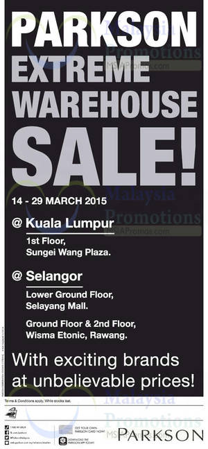 Featured image for Parkson Extreme Warehouse Sale @ Sungei Wang Plaza KL 14 – 29 Mar 2015