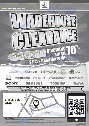 Featured image for Senheng Warehouse Clearance @ Kota Kemuning 28 – 29 Mar 2015