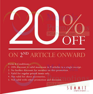 Featured image for Summit Shoes 20% OFF 2nd Item Promo 2 – 13 Mar 2015