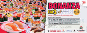 Featured image for Sushi King RM3 Sushi Bonanza Promotion For Members @ Selected Outlets 9 – 12 Mar 2015