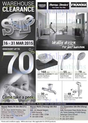Featured image for Wasser Werkz & LTL Bathroom Products Warehouse SALE 16 – 31 Mar 2015