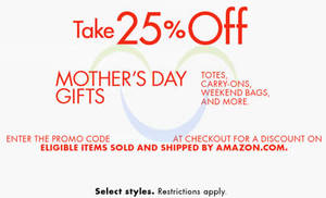 Featured image for Amazon.com 25% OFF Totes, Carry-Ons & More (NO Min Spend) Coupon Code 29 Apr – 11 May 2015