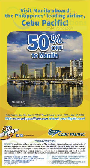 Featured image for Cebu Pacific Air 50% OFF Manila Promo Fares 30 Apr – 3 May 2015