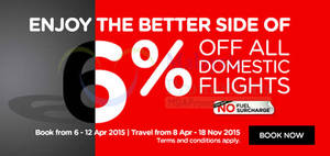 Featured image for Air Asia 6% Off All Domestic Flights & Other Promo Fares 6 – 12 Apr 2015