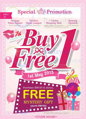 Featured image for Etude House Buy 1 FREE 1 @ Nationwide 1 – 31 May 2015