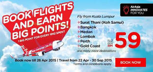 Featured image for Air Asia From RM29 (all-in) Promo Fares 20 – 26 Apr 2015