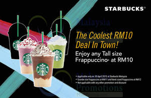 Featured image for Starbucks RM10 to RM12 Frappuccinos 1-Day Promo 30 Apr 2015