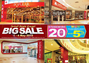 Featured image for Popular 20% Off Storewide Big Sale @ 4 Outlets 1 – 4 May 2015