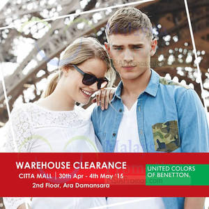 Featured image for United Colors of Benetton Warehouse Clearance @ Citta Mall 30 Apr – 4 May 2015