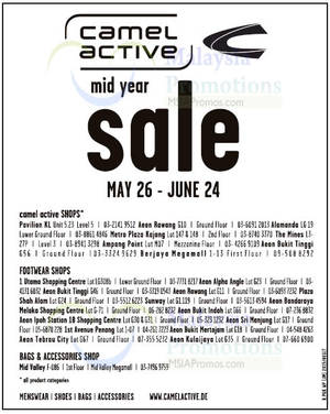 Camel Active Shops, Footwear, Bags & Accessories Mid Year SALE 26 May – 24  Jun 2015