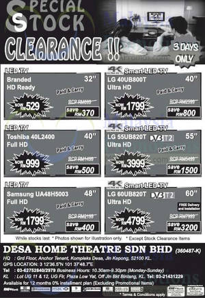 Featured image for Desa Home Theatre Audio Visual TVs, Speakers & More Offers 1 – 3 May 2015