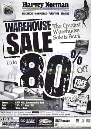 Featured image for Harvey Norman Warehouse Sale @ Citta Mall 29 – 31 May 2015