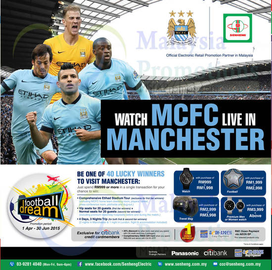 MCFC, Live In Manchester, Spend RM999, Watch, Football, Travel Bag, Premium Men Women Watch, Citibank Credit Cardmembers Specials