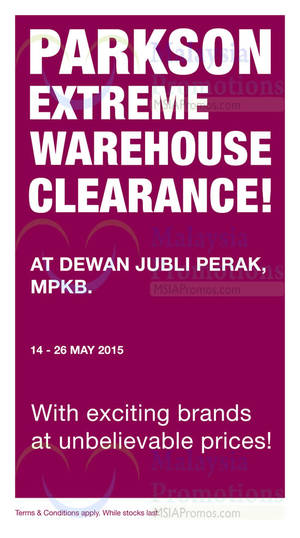 Featured image for Parkson Extreme Warehouse Sale @ Dewan Jubli Perak 14 – 26 May 2015