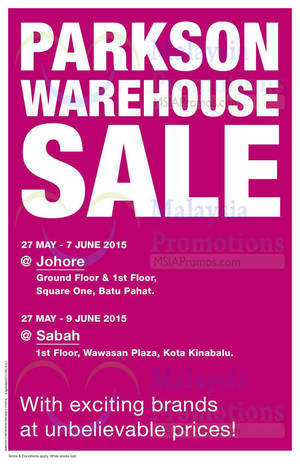 Featured image for Parkson Warehouse Sale @ Square One Batu Pahat 27 May – 7 Jun 2015