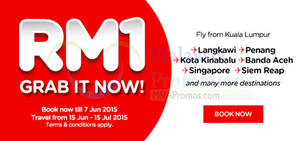 Featured image for Air Asia RM1 Promo Fares 1 – 7 Jun 2015