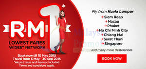 Featured image for Air Asia fr RM1 Promo Fares 4 – 10 May 2015