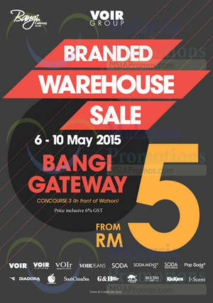 Featured image for Voir Group Branded Warehouse Sale @ Bangi Gateway 6 – 10 May 2015